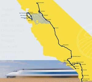 The route of the now California voter approved high speed rail line from San Diego to Sacramento/San Francisco has been largely determined by geography and settlement patterns.  The ultimate choice of how to link the three population centers of the Bay Area to the trunk line in the Central Valley has not yet been determined.