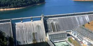 The Tennessee Valley Authority was an New Deal economic stimulus plan for the Southeast which involved the building of, among other things, hydroelectric dams on a number of rivers in the region.  Still operated by the federal government, the TVA through fossil, nuclear and hydroelectric plants sells power to local private utilities and industrial power customers.