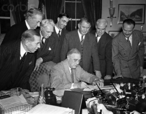 """Roosevelt signs the extension of the Lend Lease program in 1943.  Most commentators agree that the Great Depression was ended by the massive spending program and mobilization that was World War II.  Perhaps it will be easier to justify large public outlays if we declare a """"Green Energy War"""" as has John Geesman."""