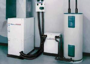 Ground source (a.k.a. geothermal) heat pumps, like the appliances above in combination with a long loop of tubing in the ground, use one half to one third the energy of conventional furnaces and air conditioning, generate domestic hot water, run on electricity.  While the appliance itself is not that expensive the digging or drilling of the ground loop makes the cost of the system substantially more than conventional units.  As this represents a paradigm shift in heating and cooling, rebate programs by utilities or governments can help build a still small industry.