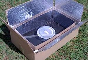 One of the inexpensive solutions to black carbon emissions in developing countries is the use of solar cookers like this Kyoto Box to heat water, make soups and stews.  As yet there is no inexpensive consensus solution for baking and grilling applications, which presents a considerable challenge to food cultures in many countries.